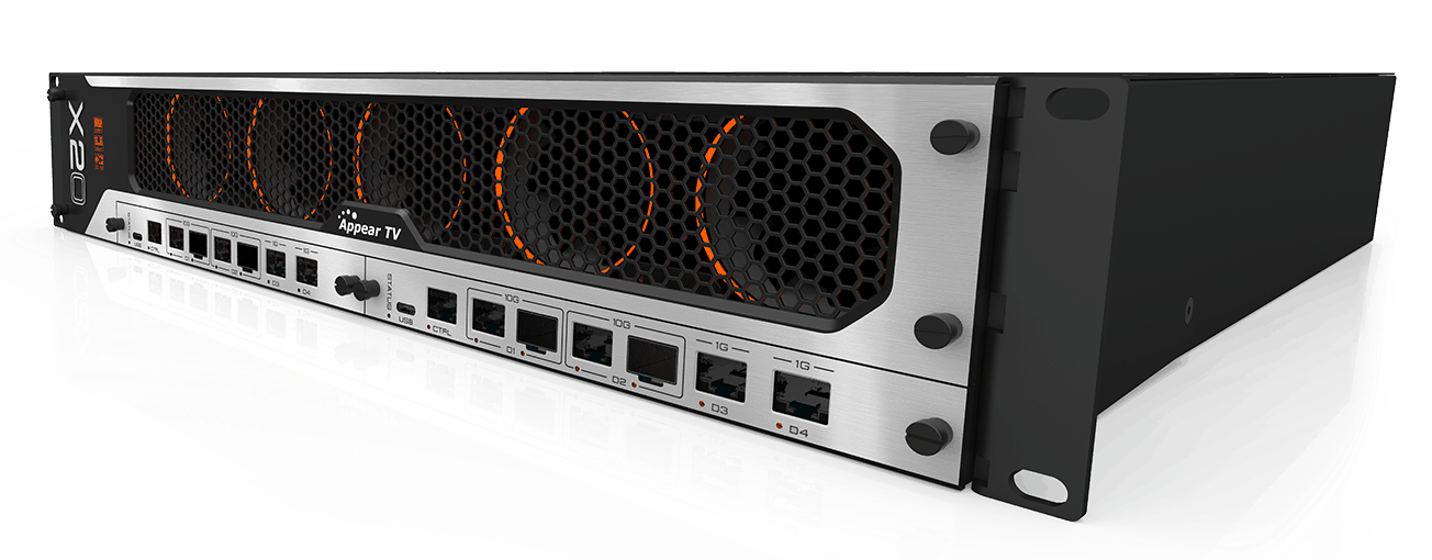 Appear TV X20 for high-speed video networking, enhanced IP security and advanced compression. AVC / H.264, HEVC / H.265, TICO and JPEG2000 decoding, transcoding and encoding. Satellite demodulation and modulation and high-speed IP interfaces. Designed for remote production, contribution and distribution