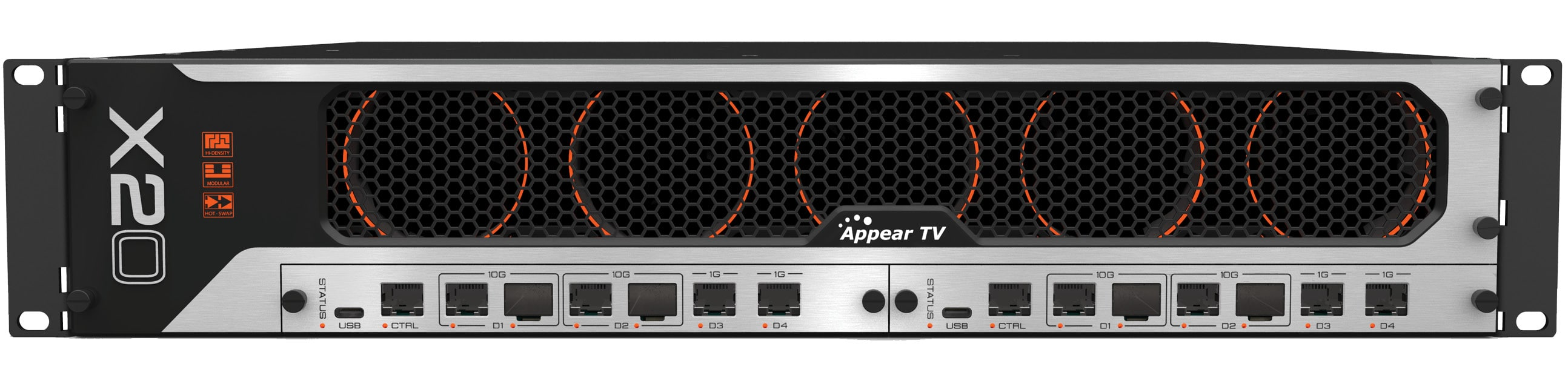 The Appear X platform for high-speed video networking, enhanced IP security and advanced compression. AVC / H.264, HEVC / H.265, TICO and JPEG2000 decoding, transcoding and encoding. Satellite demodulation and modulation and high-speed IP interfaces. Designed for remote production, contribution and distribution