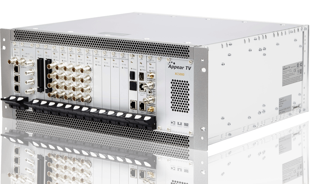 XC 5000 modular MPEG 2 AVC h.264 decoder transcoder and encoder with DVB-C, DVB-T, DVB-S, DVB-S2, DVB-S2X modulation, descrambling and scrambling, statistical multiplexing