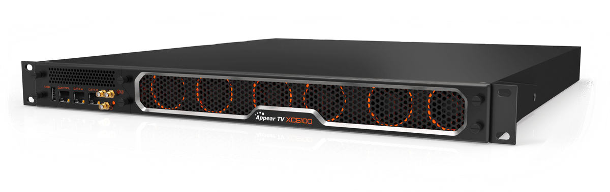 Appear XC 5100 modular MPEG 2 AVC h.264 decoder transcoder and encoder with DVB-C, DVB-T, DVB-S, DVB-S2, DVB-S2X modulation, descrambling and scrambling, statistical multiplexing