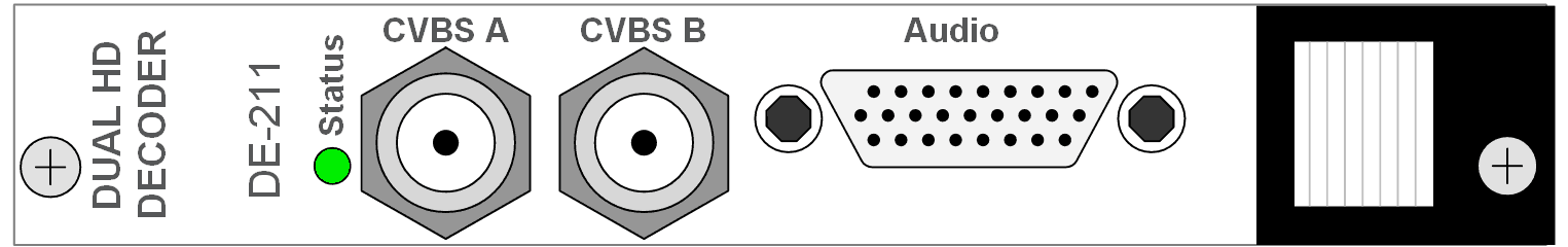 Dual decoders, composite PAL and NTSC, Dolby decodin, balanced stereo audio output. MPEG2 and MPEG4 H264 AVC. VBI re-insertion, DVB and EBU subtitling.