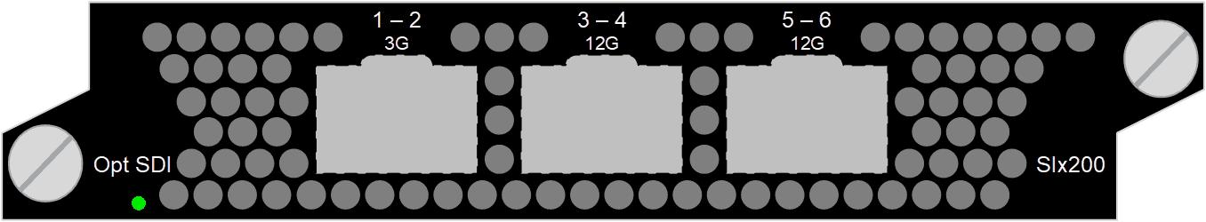 12G SDI/ASI IO, 3x Video SFP+, 12G-SDI (SMPTE ST-2082), 3G-SDI (SMPTE 424M), HD-SDI (SMPTE 292M), SD-SDI (SMPTE 259M), SDI or ASI configurable, Input or output, TICO, JPEG2000