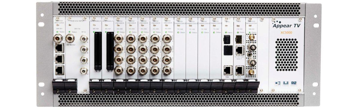 Appear XC 5000 modular MPEG 2 AVC h.264 decoder transcoder and encoder with DVB-C, DVB-T, DVB-S, DVB-S2, DVB-S2X modulation, descrambling and scrambling, statistical multiplexing